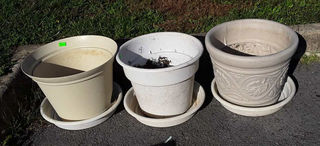 Lot# 2 - Three poly flower pots with dri