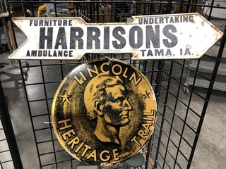 Signs, Harrison's Undertaking, Ambulance and Furniture, TAMA, IA