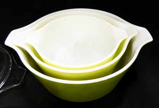 Pyrex Ovenware - 5 piece set; varying greens