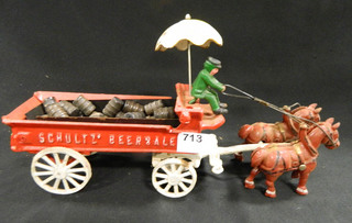 Cast Iron Horse Drawn Beer Wagon w/driver