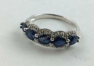 Lot# 500 - Sterling silver sapphire ring