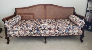 Cane Back & Sides Sofa With Cushions