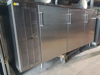 "84"" 3-door back bar beer cooler"