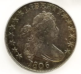 1806 Pointed 6, No Stems Half Dollar, ICG EF-40