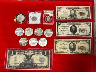 Silver Coins, Federal Reserve Notes, Currency
