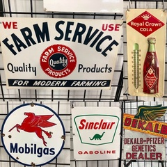 Old Porcelain Signs and Thermometer