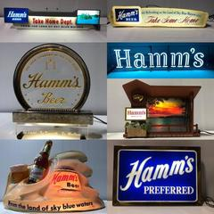 HAMMS BEER VINTAGE ERA STYLE SPINNING WALL MOUNT ADVERTISING SIGN