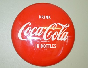 Coca Cola large metal button sign