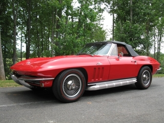 1965 Red Corvette Convertible: 1965 Corvette Convertible: Body  Off Restoration, 396 425 HP, 4 speed, side pipes, knock off wheels, Hardest Mid-year Corvette to find Lot 405