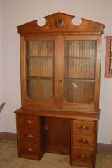 Antique Bookcase Desk: Walnut w/ glass door top