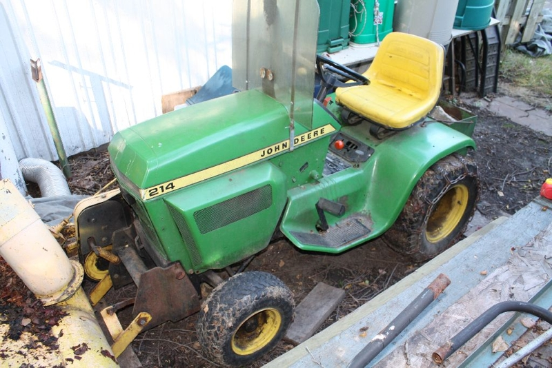 JOHN DEERE 214 GARDEN TRACTOR W/ SNOWBLOWER, CRAFTSMAN CHAINSAW, MANY ...
