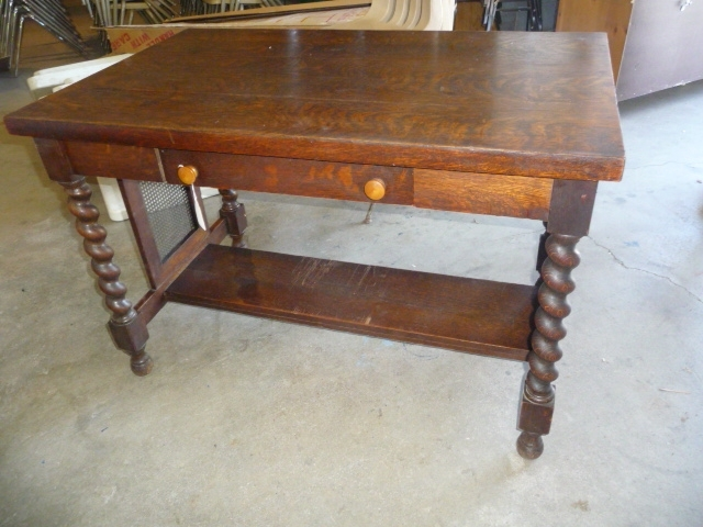 ... Antique Barley Twist Leg Library Table ... - Huge Antique, Household, Tools, Collectibles Public Auction - The