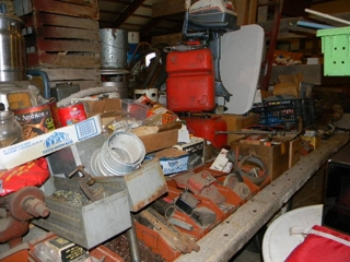 assortment of tractor parts: