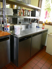 stainless prep with refrigerated units:
