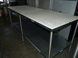 stainless steel cut board table 7'