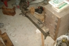 Antique wood lathe & parts: