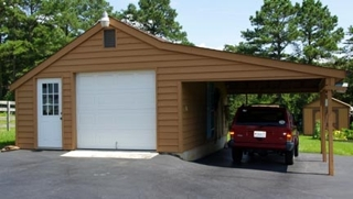 Garage w covered carport