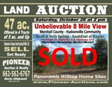 Auction - Saturday October 26 - 2pm - Marshall Co. 47 ac. in Tracts - Panoramic Hilltop Home Site - Unbelievable 8 Mile View
