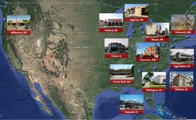 Absolute Auctions of 12 Former Bank Branches in 9 States