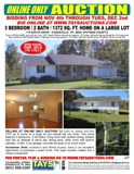 ONLINE ONLY AUCTION-3Bdrm/2Bath Home on Large Lot in a Great Location