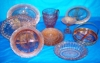 Many patterns of pink depression glass: