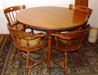 wooden table and chairs: