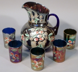 Cherry Blossom Enameled Pitcher