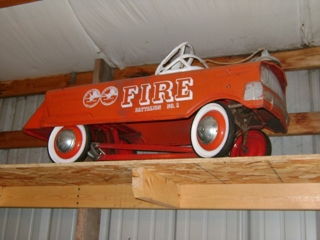 1 of 9 pedal cars: Fire truck 'Battalion No. 1' w/bell
