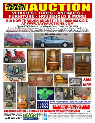 Online only absolute auction vehicles antiques tools jet ski lawn mower glassware guitar more Badcock home furniture more cookeville tn