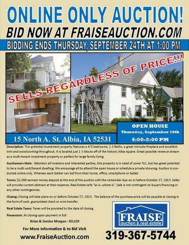 Online Only Real Estate Auction In Albia Iowa By Fraise
