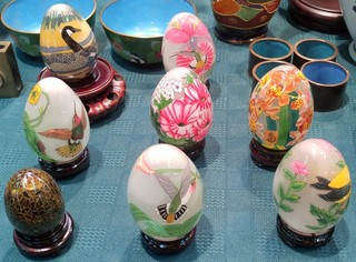 Glass eggs by Wang Ming of Montague