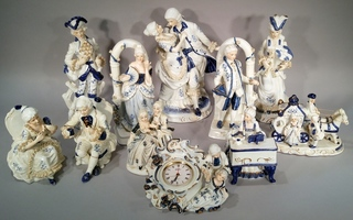 Blue Porcelain Courting Figurines