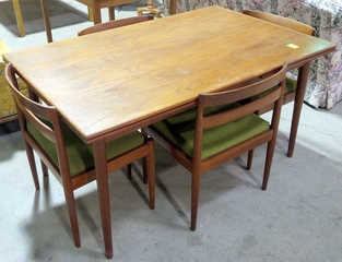 Danish Mid-Century Modern Table & 4 Chairs