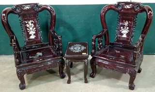 Large Ornate Wood Carved Chairs with Mother of Pearl Inlay and Matching Table