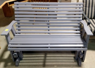 Painted Wood Slat Glider Rocker Loveseat