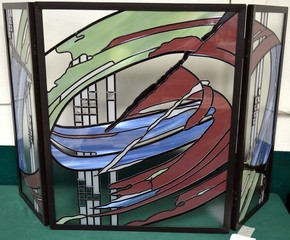 Leaded Glass Fireplace Screen