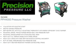 New Hot Pressure Washer Specs