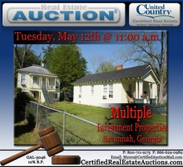 Real Estate Auctions for Savannah, Georgia Investment and
