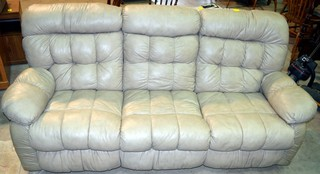 Modern Bonded Leather Reclining Sofa