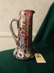 Antique Art Nouveau Pitcher with Sterling Overlay