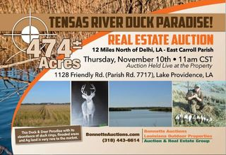 East Carroll Parish Duck Hunting Property For Sale at Auction Lake in Lake Providence