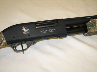 Closeup of Weatherby PA-08 12 Ga - Delta Waterfowl Edition