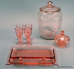 Large Selection of Pink & Green Depression Glass