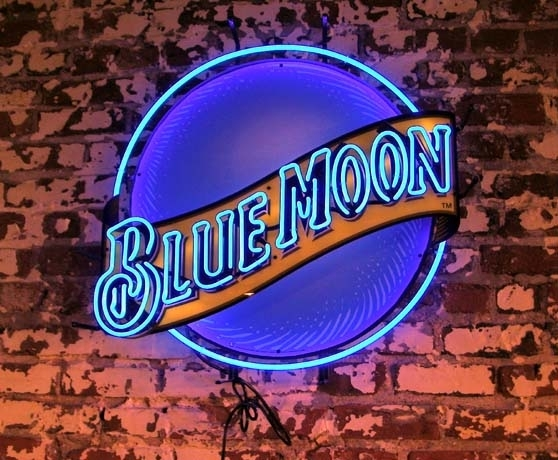 Blue Moon Neon Sign Store Display Beer Bar Signs Real Neon Light ...