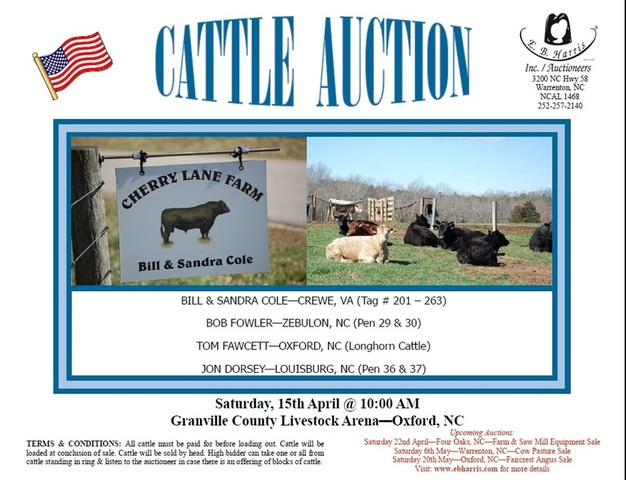 CATTLE AUCTION - E B  Harris, Inc  Auctioneers
