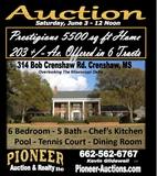 Prestigious 5500 sq ft Home on 2013 Ac. Offered in 6 Tracts of 4 ac. and Up - Panola Co. MS