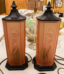 "Pair of Square Pink Glass boudoir lamps, 13.5"" tall"