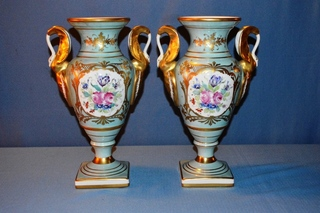 Mantle Urns w/ gold gilded handles