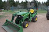 JD UTILITY TRACTOR, MOPED & HOUSEHOLD ITEMS