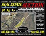 91 Ac. +/- Recreation Tract For Sale At Auction!!
